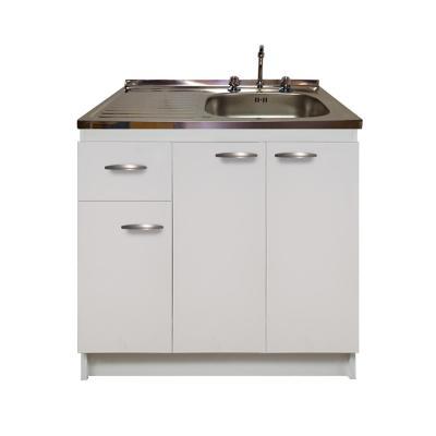 kit mueble base blanco 1 cajón +lavaplatos izquierdo 100x50 cm