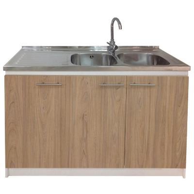 kit mueble madera 3 puertas lavaplatos derecho + grifería 120 x 50 cm