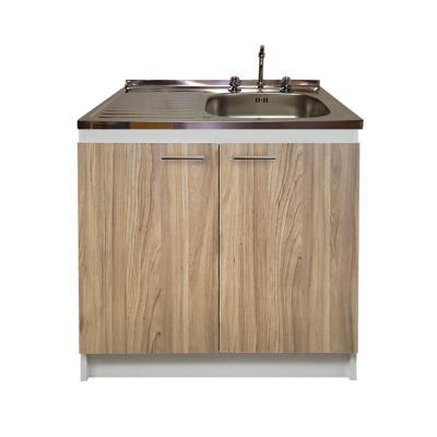 kit mueble  madera 2 puertas con lavaplatos  izquierdo 100 x 50 cm