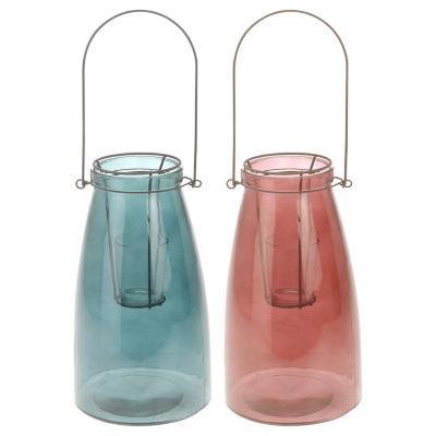 Portavela vidrio 26 cm Variedad de Colores