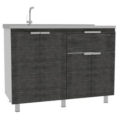 Mueble de cocina con lavaplatos 120x51,5x88 cm Gris/blanco