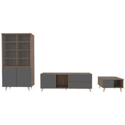 """Set rack de TV 60"""" + vitrina + mesa de centro miel/gris"""