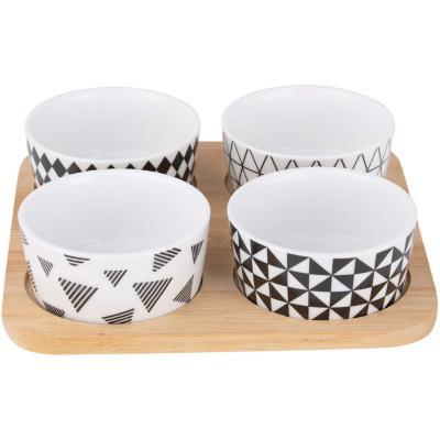 Set 4 bowl picoteo cerámica Blanco/negro