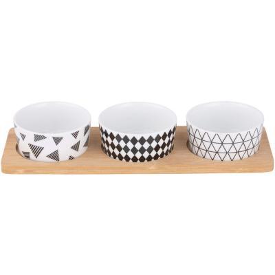 Set 3 bowl picoteo cerámica Blanco/negro
