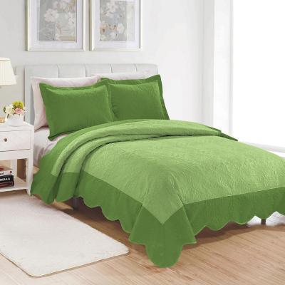 Quilt bordado Salta microfibra 1,5 plazas verde