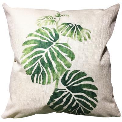 Cojín hojas crudo y verde lino 45x45 cm