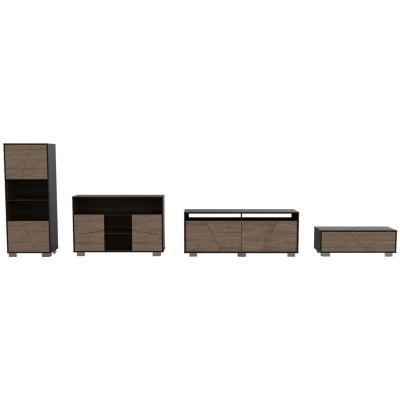 Set sala de estar 4 muebles habano/miel