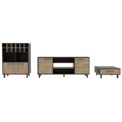 "Set rack de TV 65"" + bar + mesa de centro wengue/miel"