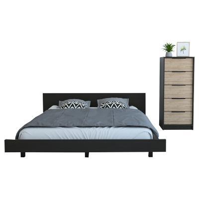 Set cama 2 plazas + cómoda 5 cajones wengue/miel