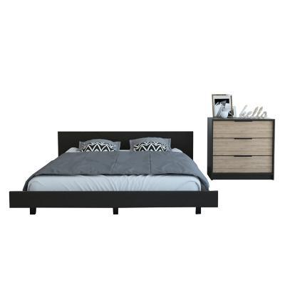 Set cama 2 plazas + cómoda 3 cajones wengue/miel