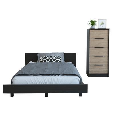 Set cama 1,5 plazas + cómoda 5 cajones wengue/miel