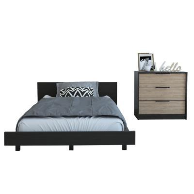 Set cama 1,5 plazas + cómoda 3 cajones wengue/miel