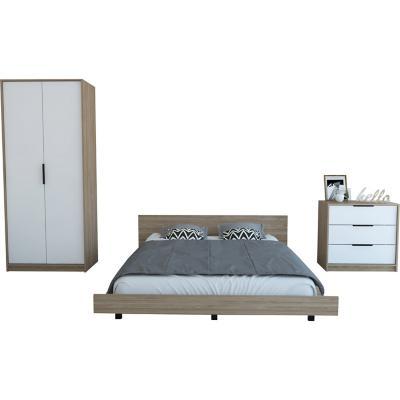 Set cama 2 plazas + clóset + cómoda 3 cajones miel/blanco