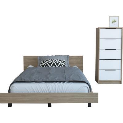 Set cama 1,5 plazas + cómoda 5 cajones miel/blanco
