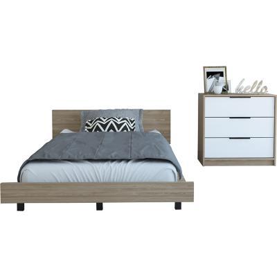 Set cama 1,5 plazas + cómoda 3 cajones miel/blanco