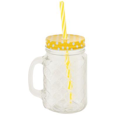 Jarro vidrio con bombilla 450 ml Amarillo