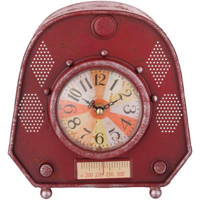Reloj mesa metalico 23x23 cm radio vintage