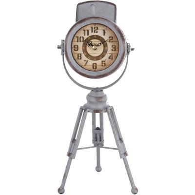 Reloj mesa 38x17 cm foco tripode antiguo