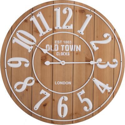 Reloj muro redondo 68 cm café