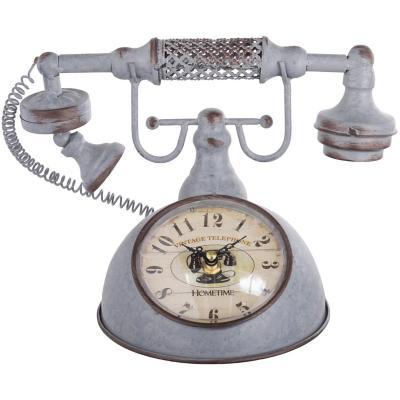 Reloj mesa metalico 20x27 cm telefono vintage
