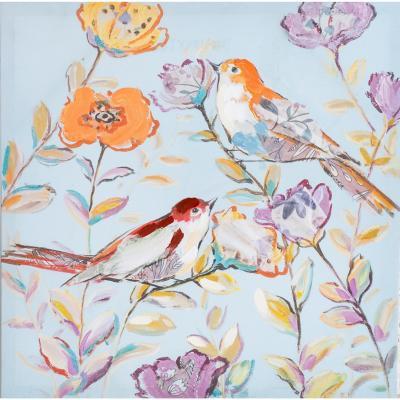 Canvas con aplicaciones de oleo pajaro 50x50 cm