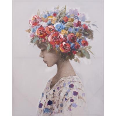 Canvas con aplicaciones de oleo niña con flores 80x100 cm