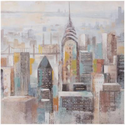 Canvas con aplicaciones de oleo New York 80x80 cm
