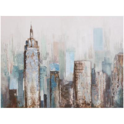 Canvas con aplicaciones de oleo New York 60x80 cm