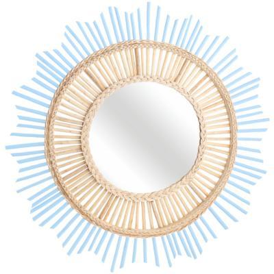 Espejo redondo 80 cm celeste