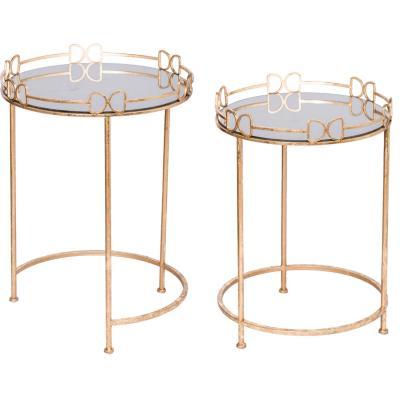Set de 2 mesas laterales nido de espejo