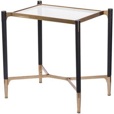 Mesa lateral cuadrada estructura madera y metal negro/dorado