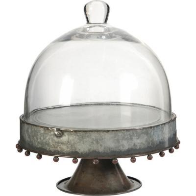 Tortero con base y pedestal de metal y cúpula de vidrio