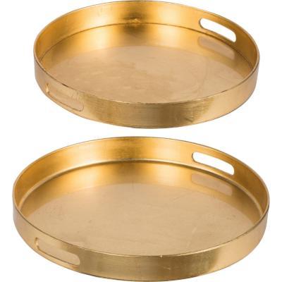 Set de 2 bandejas plástico redondas dorado
