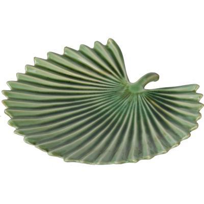 Plato cerámica forma de nalca verde