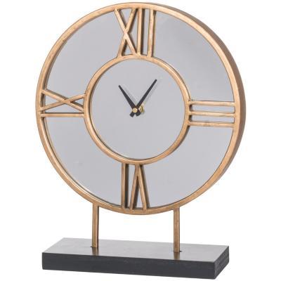 Reloj de mesa en metal dorado y base negra