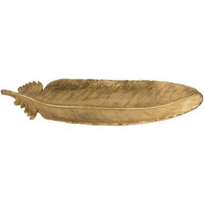 Plato con forma de pluma en resina dorado