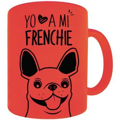 Tazón fluor naranjo bull dog frances café