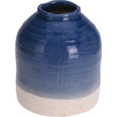 Vasija decorativa, color azul, 20.5 cm