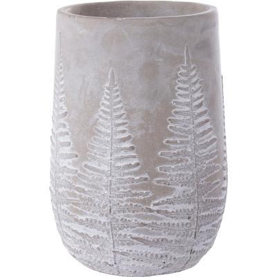 Macetero de cemento, diseño hojas 13,5 cm