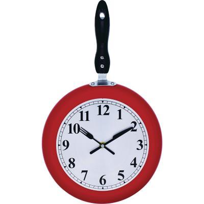 Reloj cocina sarten rojo