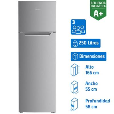 Refrigerador frío directo top mount freezer 250 litros inox