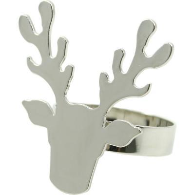 Porta servilleta renos x4 metal plata