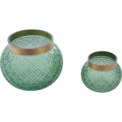 Portavela vidrio 22 cm verde