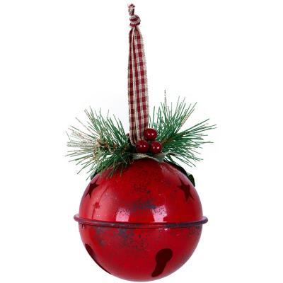 Esfera 8 cm campana con pino roja xm