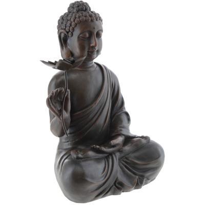 Buda sentado con flor 48x33 cm resina