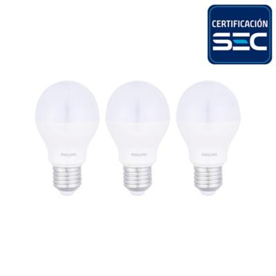Pack 3 ampolletas led bulbo 7,5 W fría