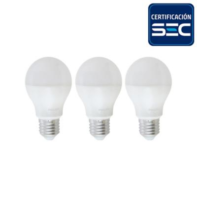 Pack 3 ampolletas led bulbo 7,5 W cálida