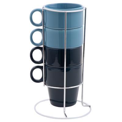 Set 4 taza con rack azul/celeste