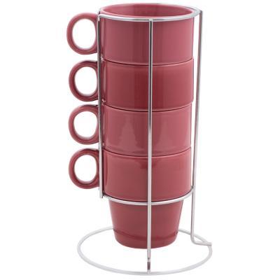Set 4 taza con rack burdeo/rosado