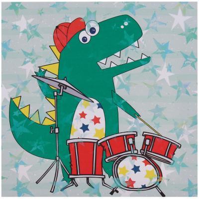 Canvas infantil dinosaurio con batería 28x28 cm